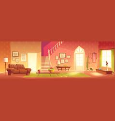 House cozy living room interior cartoon vector
