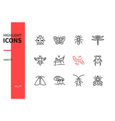 Insects collection - modern line design style vector