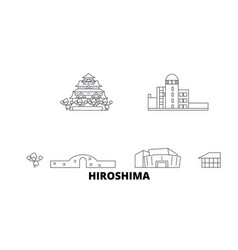 Japan hiroshima line travel skyline set japan vector