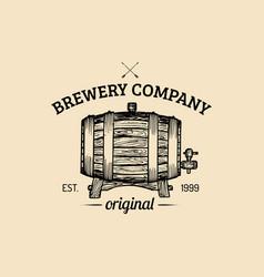 Kraft beer barrel logo vintage homebrewing vector