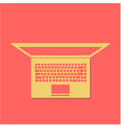 laptop with blank screen isolated on red vector image