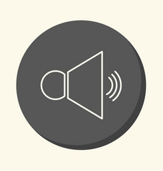 Loudspeaker and sound round line icon with the vector