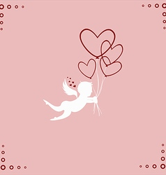 Lovely angel with hearts vector image