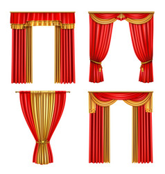 Luxury curtains realistic icon set vector