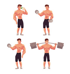 Man male bodybuilder weightlifter working out vector