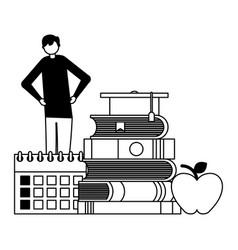 man student books school suppplies vector image