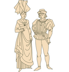 medieval couple wearing historic costumes vector image