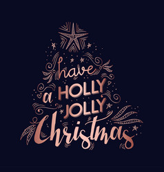 Merry christmas copper text quote greeting card vector