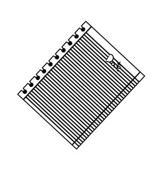 monochrome silhouette of striped notebook sheet in vector image