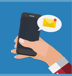 new email on the smartphone screen notificatio vector image