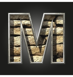 Old stone letter m vector