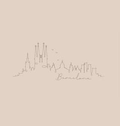 pen line silhouette barcelona beige vector image