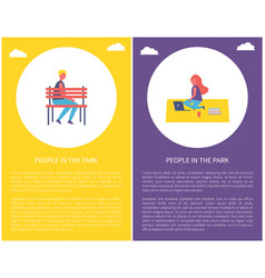 People park poster boy sit on bench woman on rug vector