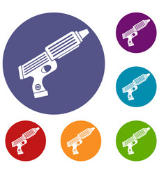 Plastic gun toy icons set vector