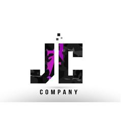 Purple black alphabet letter jc j c logo vector
