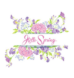 Rectangular frame with flowers and calligraphic vector