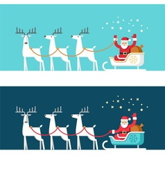 Santa Claus on sleigh and his reindeers vector