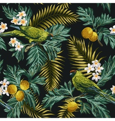 Seamless exotic tropical pattern with leaves vector image