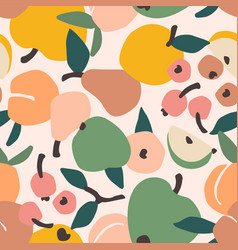 seamless pattern with fruits trendy hand vector image