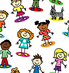 Seamless stick figure kids vector image