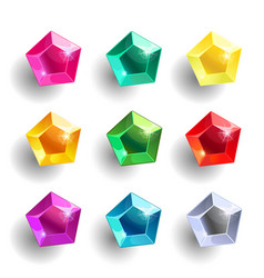 set of cartoon pentagon different color crystals vector image