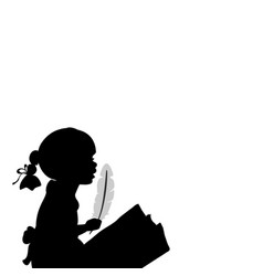 Silhouette girl with feather world poetry day vector