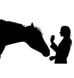 sillhouette of girl with horse vector image