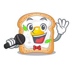Singing sandwich with egg above character board vector