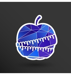 Slimming apple icon slim weight diet vector