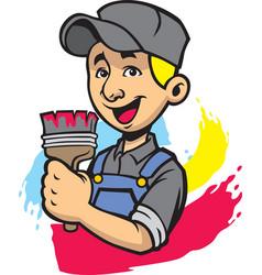 smiling painter man vector image