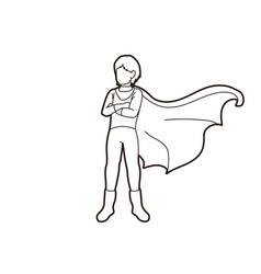 Super hero man standing with costume cartoon vector