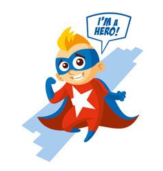 Superhero boy cartoon character vector