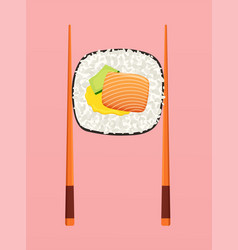 sushi roll with salmon avocado and chopsticks vector image