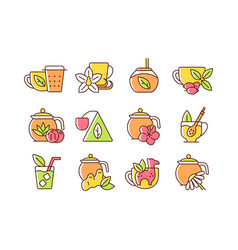 tea drinking related rgb color icons set vector image