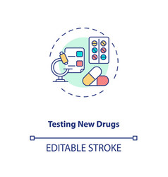 Testing new drugs concept icon vector
