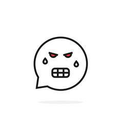 Thin line angry emoji speech bubble logo vector
