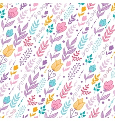 Tulip flowers seamless pattern background vector image