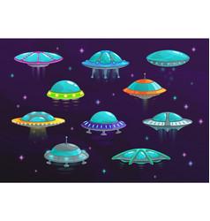Ufo and alien spaceship cartoon set spacecraft vector