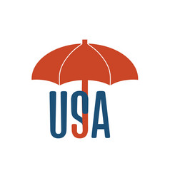 usa word under umbrella vector image