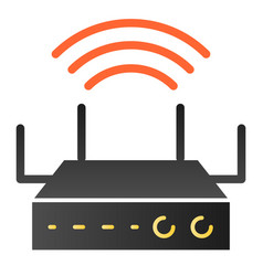 Wi-fi coverage flat icon wireless router color vector