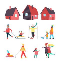 Winter seasonal activities outdoor people vector