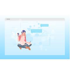 woman in headphones listening to music girl vector image
