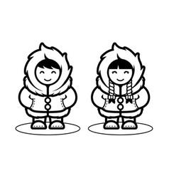 Young eskimo cute couple in cartoon style vector