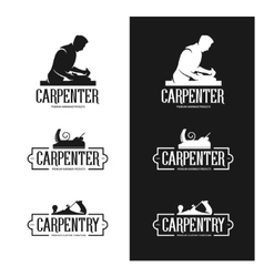 Carpentry vintage labels set Carpenter emblems vector image vector image