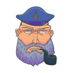 Cartoon Captain sailor face with Beard Cap and vector image vector image