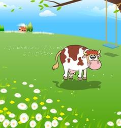 Cow on a farm vector