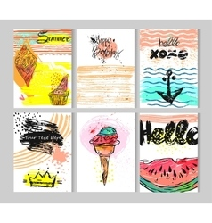 Hand drawn summer collection cards set vector image vector image