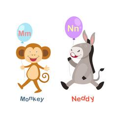 isolated alphabet letter m-monkeyn-neddy vector image vector image