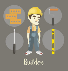 builder on a dark background vector image vector image