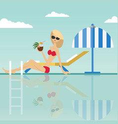 fashion woman sitting at swimming pool vector image vector image